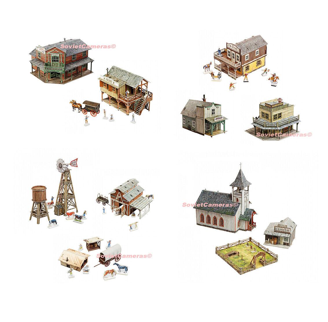 SPECIAL SET Terrain Scenery WILD WEST TEN Buildings Cardboard Model Kits New