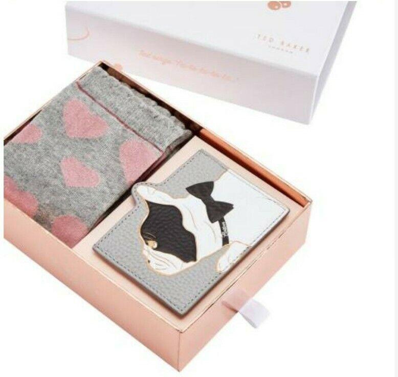 Ted Baker Grey pink Heart Socks grey leather Bulldog Card Holder gift Set
