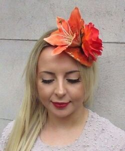 Image is loading Gold-Orange-Lily-Rose-Flower-Fascinator-Teardrop-Races- 05159abb3b5