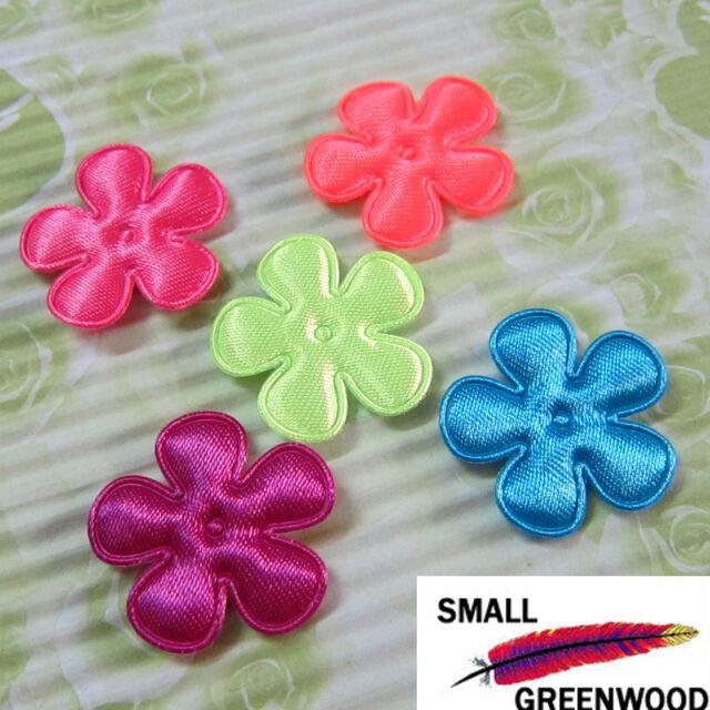 "(U Pick) Wholesale 50-500 Pcs. 1"" Padded Shiny Neon Satin Flower Appliques F4000"