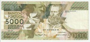 Vintage Banknote Portugal 1993 5000 Escudos Pick 184 184e 184e(5) US Seller