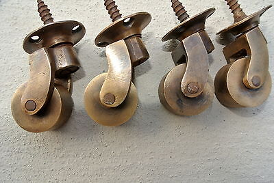 "4 small screw castor chair table 1/"" wheel solid brass castors old style look B"