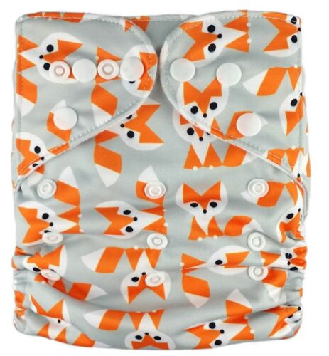 MCN New Reusable Modern Cloth Nappy FREE insert Foxy