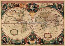 2 MAPPE riproduzione Hendrik Hondius vecchio Vintage colore ANTICO MONDO PICTURE NUOVO