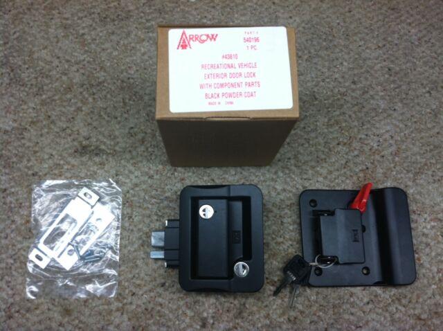 RV/Camper/Trailer - FIC Fastec Exterior Entry Door Lock, Deadbolt, BLACK, 2 Keys