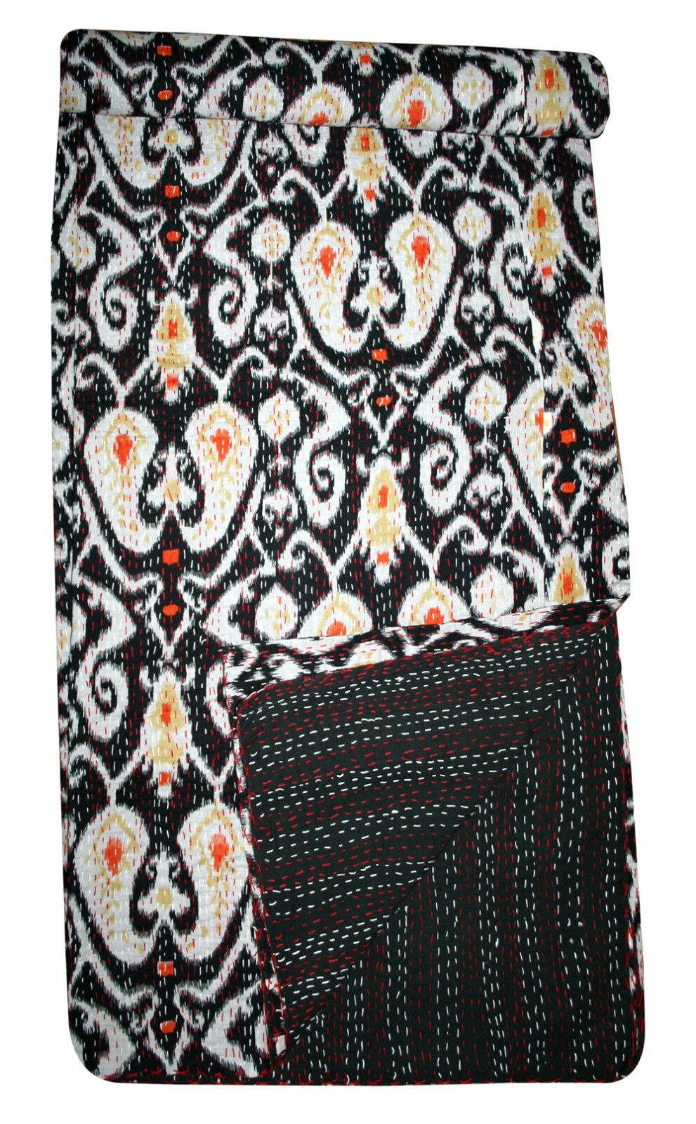 Ikat Paisley Print Kantha Quilted Bedspread Kantha Bedsheet kantha Bed cover