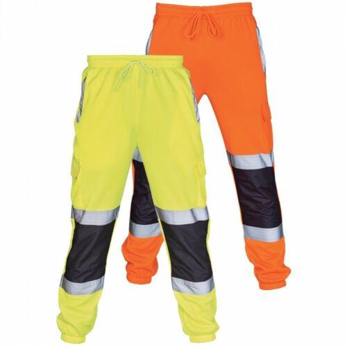 HI VIS 2 TONE JOGGERS SLIM FIT JOGGING BOTTOMS VIZ SAFETY WORKWEAR TROUSERS