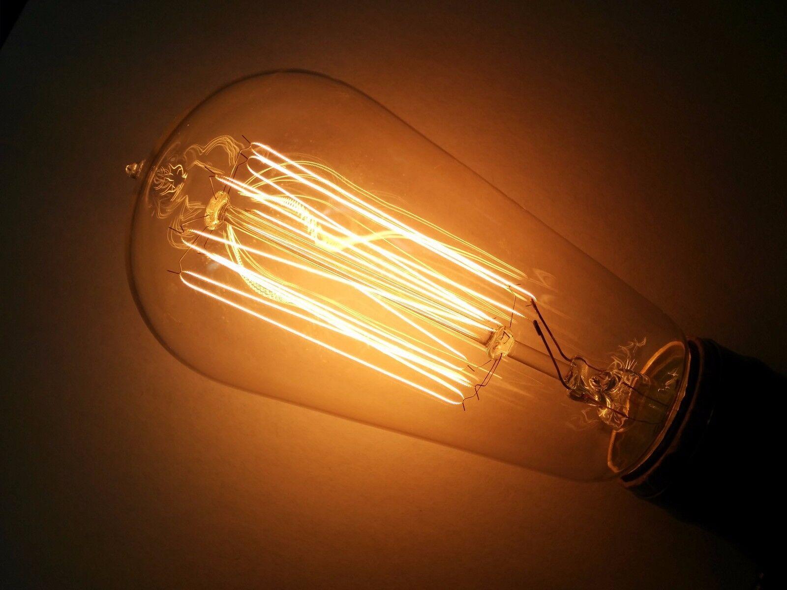 (10PK)Simple Vintage ST58 Edison Light Bulb 40W 120V Antique Squirrel Cage Clear