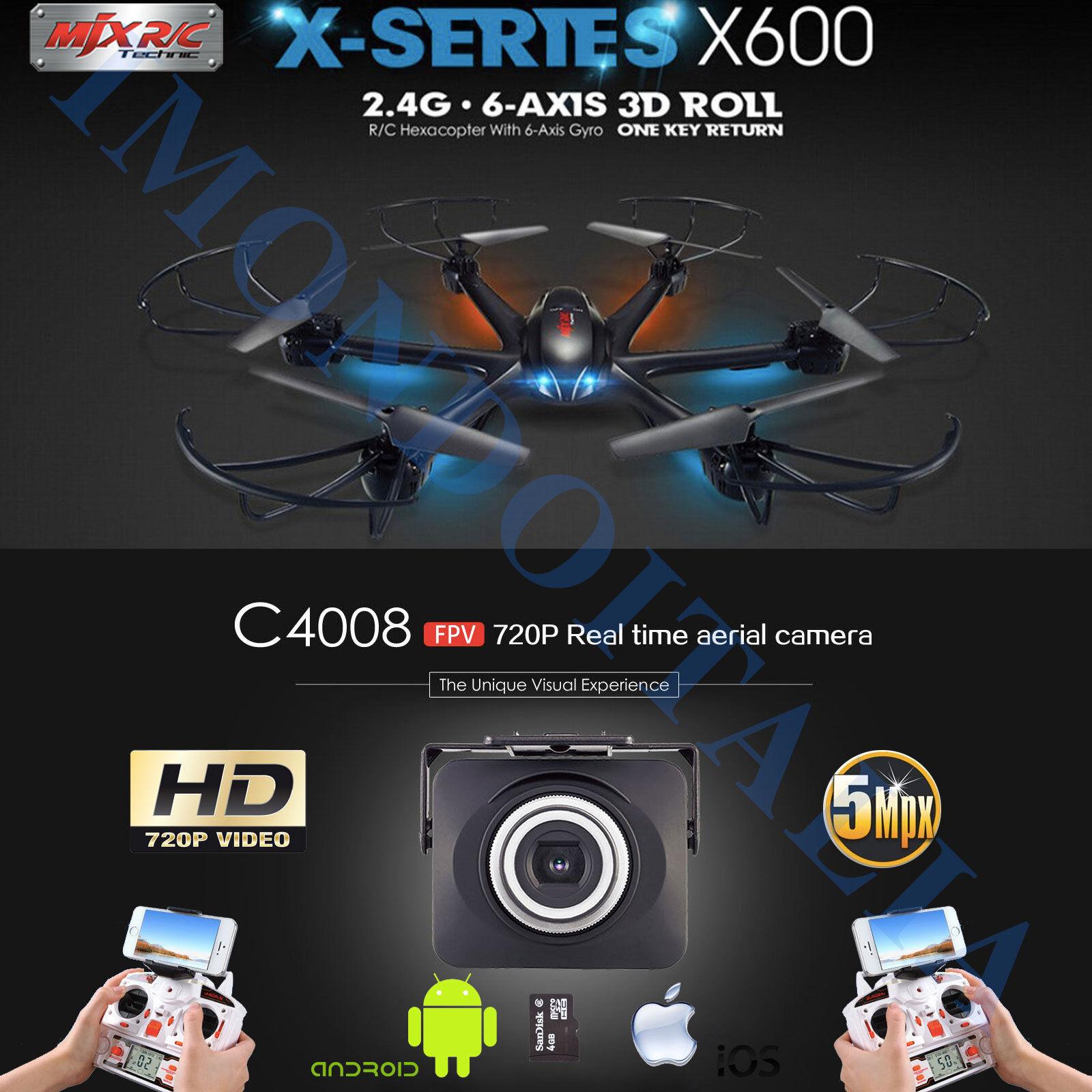 ESACOTTERO MJX X600 CON CAMERA 5MPX WIFI CON MICRO SD