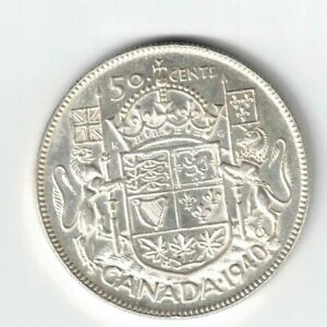 CANADA-1940-50-CENTS-HALF-DOLLAR-GEORGE-VI-CANADIAN-800-SILVER-COIN