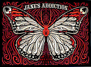 "5"" JANE'S ADDICTION butterfly vinyl bumper sticker. Perry Farrell for car, bong."