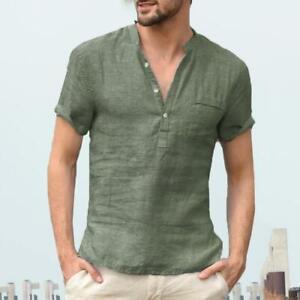 Summer-Men-Linen-V-Neck-Shirt-Short-Sleeve-T-Shirt-Tops-Male-Solid-Casual-Tees