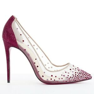 48bf9e7437 Image is loading new-CHRISTIAN-LOUBOUTIN-Follies-Strass-red-crystal-glitter-