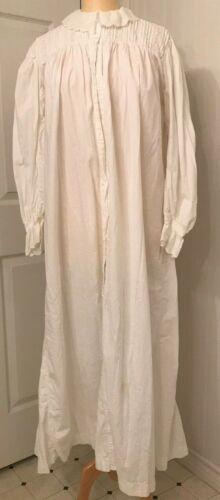 Antique Victorian cotton night gown eyelet collar