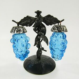 Vintage-Salt-Pepper-Shaker-Set-Artmark-Hanging-Blue-Grapes-3-pc-with-base-INV299