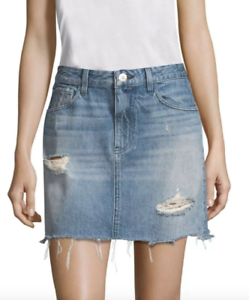 New  3X1 N.Y.C. Denim Celine Laz Distressed Destroyed Denim Skirt 30