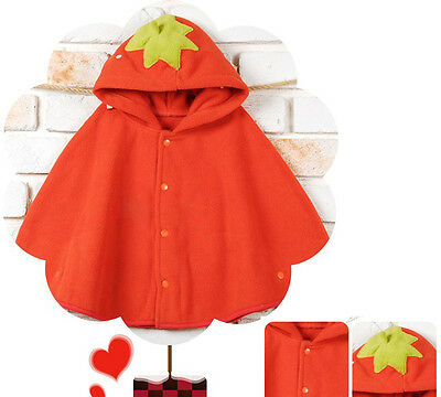 Baby Red Strawberry Hooded Cloak Poncho Jacket Outwear Coat Costume 0-24Months