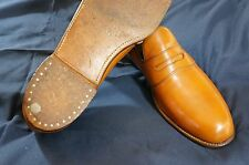 Vintage NETTLETON Penny Loafer Cognac Leather Shoe Rare Round Cleat - Mens 9 A C
