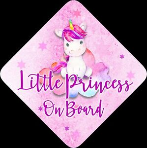 Non Personalised Child//Baby On Board Car Sign ~ Princesses On Board ~ Purple