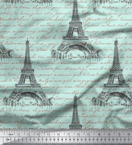 Soimoi Stoff Text /& Eiffelturm architektonisch Stoff 1 Meter bedrucken AT-504C