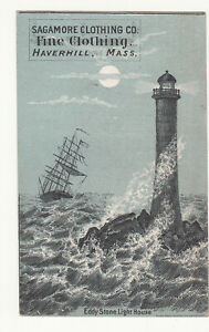 Sagamore Clothing Co Haverhill MA Eddy Stone Lighthouse J W Patterson  c1880s
