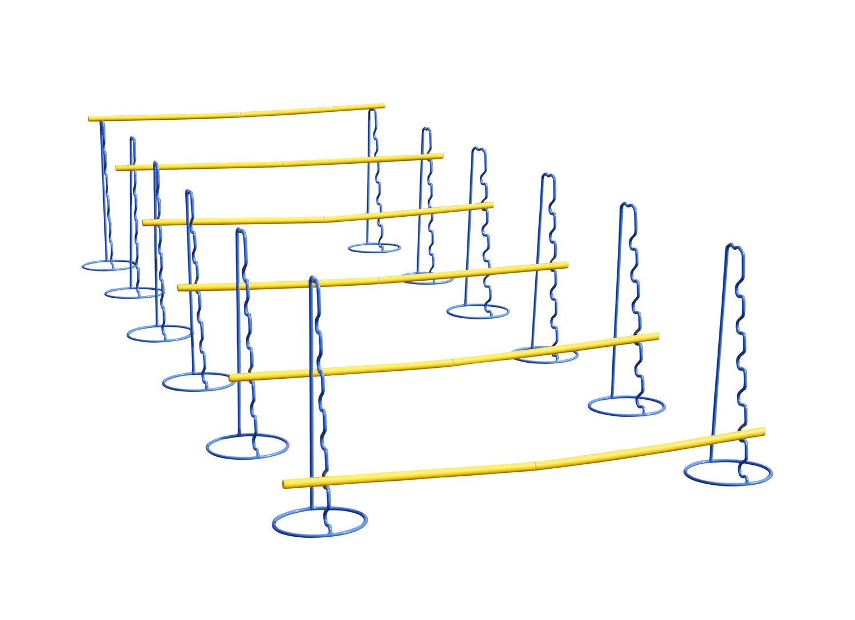 Sei ostacoli allenaSieto coordinazione con montanti regolabili in altezza