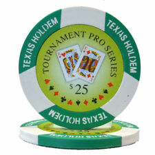 "25 ct Green/White $25 Twenty-Five Dollars ""Tournament Pro"" 11.5g Poker Chips"