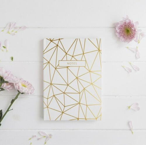 NEW Geometric 'Notes' Gold Foil Notebook Women's by PennedBlack