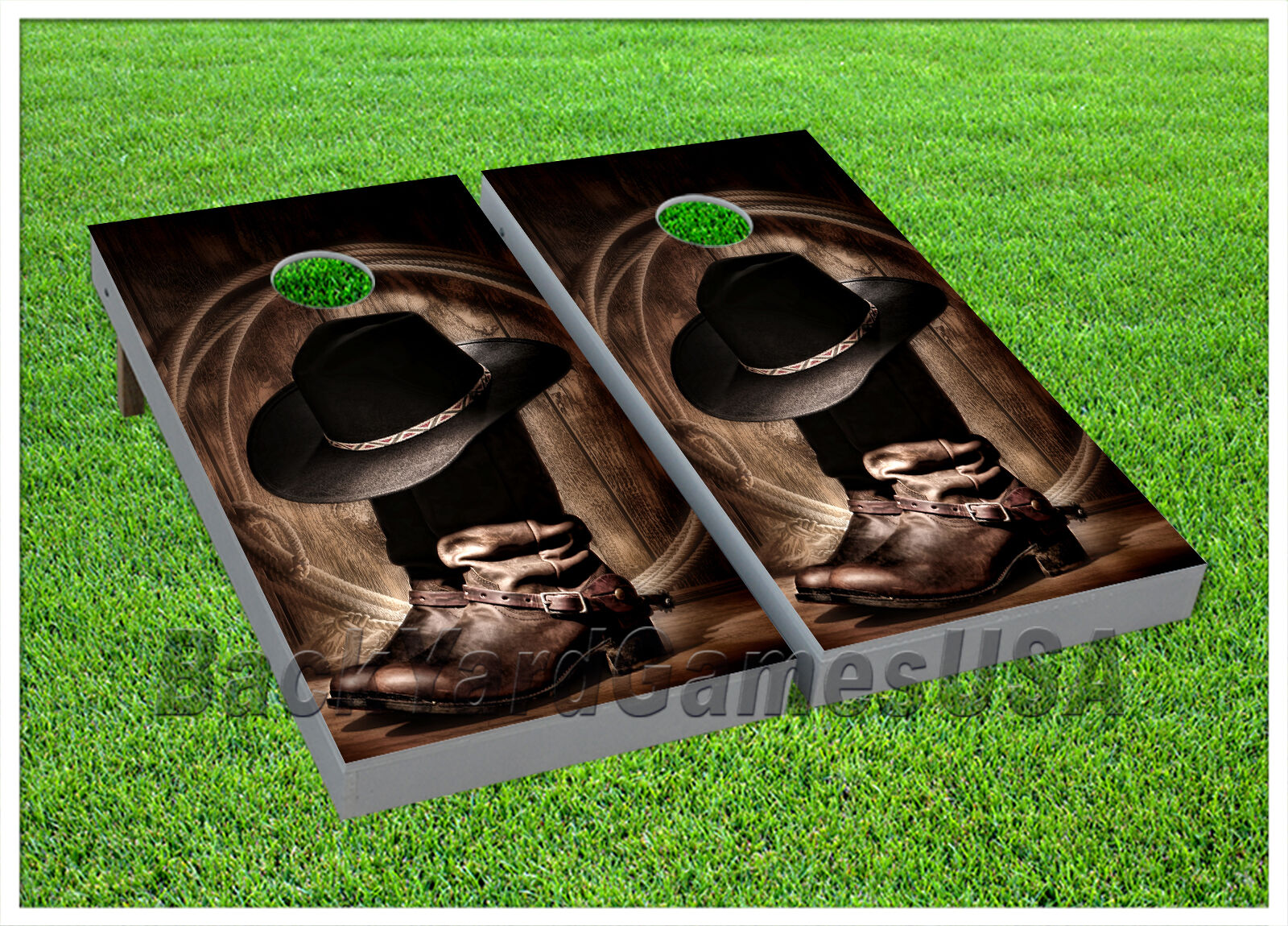 CORNHOLE BEANBAG TOSS GAME w Bags Game Boards Cowboy Boots West Country Set 928