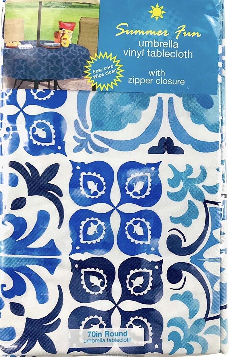 Geo Waves Print Vinyl Tablecloths Umbrella Hole  w//Zipper Asst.Sizes Blue