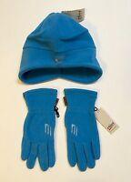 Etirel Hat Gloves Blue Size Small Ski Winter Pleather European Polyester