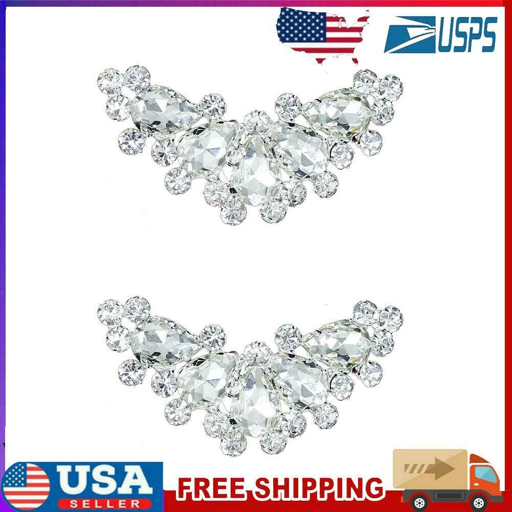 1 Pair Pearl Crystal Shoe Clip Rhinestone Wedding Bride Shoes Decoration