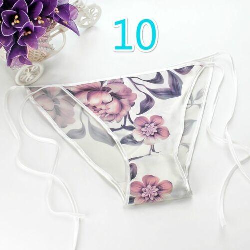 Women Real Silk Briefs Floral Printed Low Waist Panty Bikini Underpants Lingerie