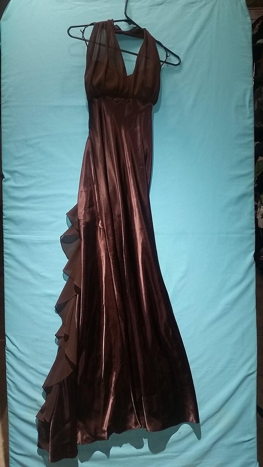 David's Bridal Elegant Brown Full Length Beautiful Dress with Slip size 4