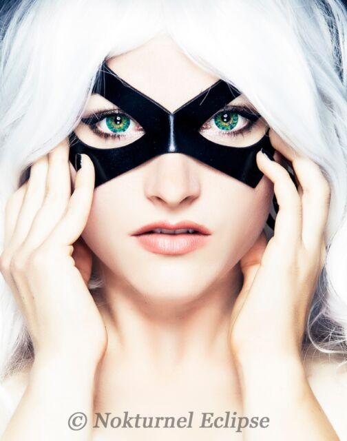 Black Cat / Ms Marvel Leather Mask Cosplay Masquerade Halloween Superhero UNISEX