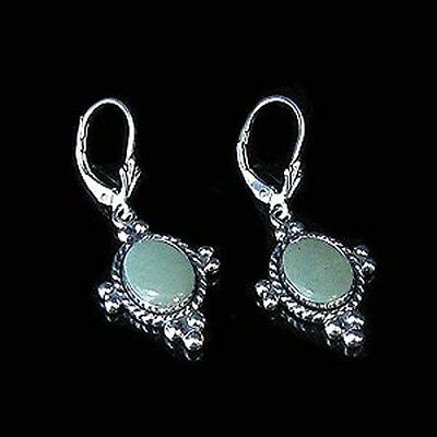 QVC .925 Sterling Silver Natural Green Kingman Turquoise Leverback Earrings