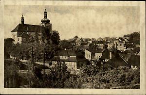 Mnichovo-Hradi-t-Tschechien-Postkarte-1954-gelaufen-Teilansicht-Kirche