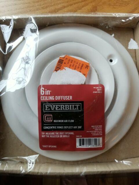 Everbilt 6 in. White Powder Coat Round Ceiling Duct Diffuser Register Cover