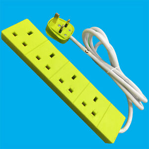 1x-1m-Light-Green-4-Way-Extension-Socket-One-Metre-Lead-13A-UK-Mains-3Pin-Outlet