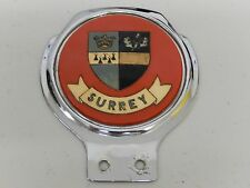 Vintage Renamel Surrey County Chrome Car Badge Auto Emblem