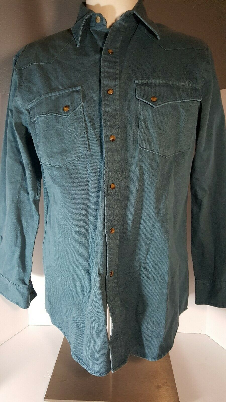 NWT Pendleton Laramie Mens S Teal Pearl Snap L S Western Heavy Cotton Shirt