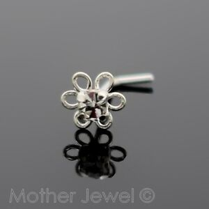 REAL-925-STERLING-SILVER-4MM-CRYSTAL-DAISY-FLOWER-NOSE-STUD-L-SHAPED-PIN-BONE