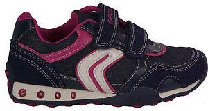 Details zu GEOX Schuhe Halbschuh Klettverschluß J N Jocker G.A.Navy Glitzer LED Textil NEU