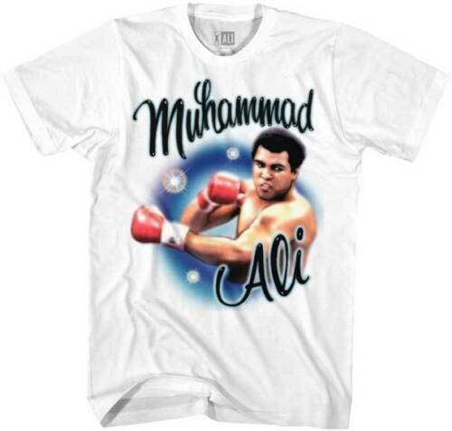 Muhammad Ali Airbrushed Throwing A Punch Adult T Shirt Boxing Champ