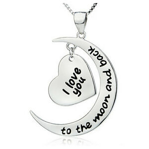 UK-Shop-Silver-039-I-LOVE-YOU-TO-THE-MOON-AND-BACK-039-Engraved-Heart-Necklace