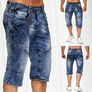 Herren-Bermuda-Jeans-Capri-Shorts-Baumwolle-Kurze-Hose-Waschung-Sommer-Vintage