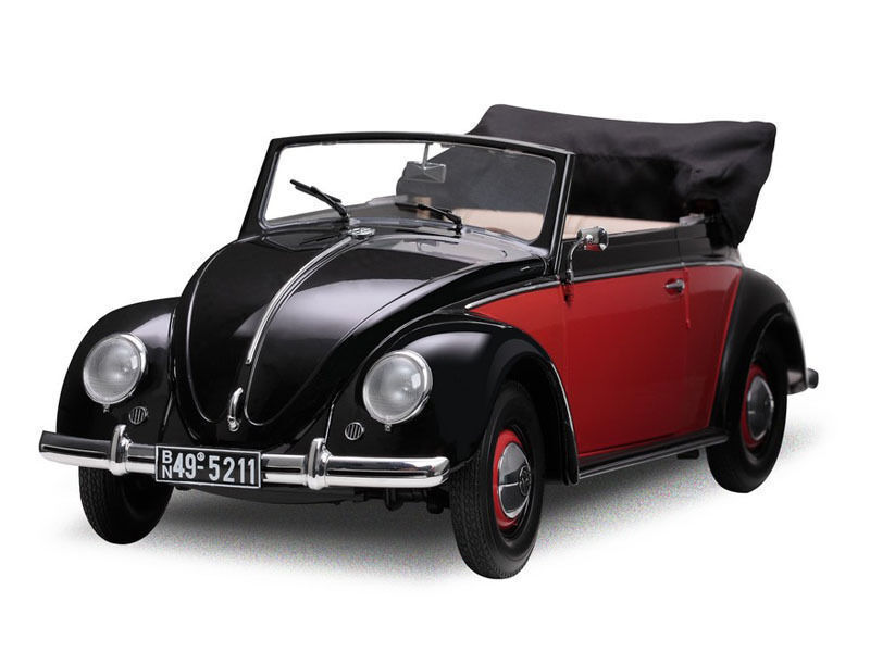 1 12 Sunstar 1949 Volkswagen Coccinelle Cabriolet Noir - Rouge