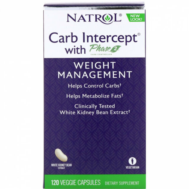 Natrol, Carb Intercept With Phase 2 Carb Controller, 1000 Mg, 120 Veggie