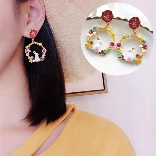 Cute Enamel Rabbit Flowers Earrings Ear Stud Earrings Animal Jewelry Women Gift|