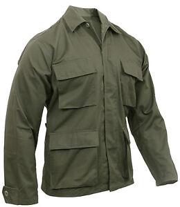Verde-Oliva-BDU-Camisa-Abrigo-Abrigo-De-Bolsillo-De-Estilo-Militar-Rothco-7837-4